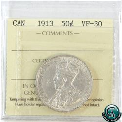 50-cent 1913 ICCS Certified VF-30. A bright coin with soft mint luster.