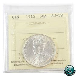 50-cent 1916 ICCS Certified AU-58