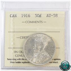 50-cent 1916 ICCS Certified AU-58. A bright semi key date coin with hints of golden toning and mint