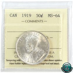 50-cent 1919 ICCS Certified MS-64. A bright lustrous coin with strong strike details.
