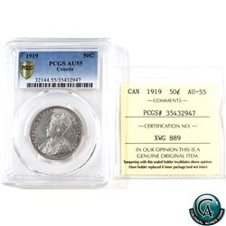 50-cent 1919 PCGS/ICCS Certified AU-55 (Cross Graded)