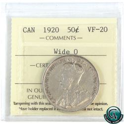50-cent 1920 Wide O ICCS Certified VF-20.