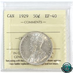 50-cent 1929 ICCS Certified EF-40.