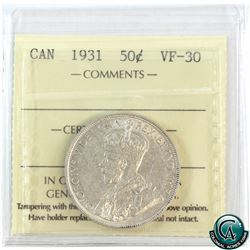 50-cent 1931 ICCS Certified VF-30. A nice problem free coin.
