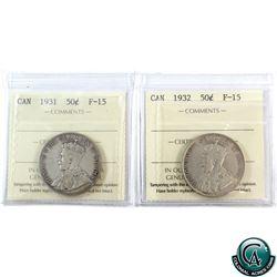 50-cent 1931 & 1932 ICCS Certified F-15. 2pcs.