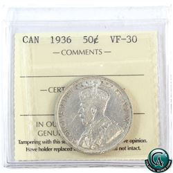 50-cent 1936 ICCS Certified VF-30.