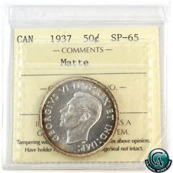 50-cent 1937 ICCS Certified SP-65 Matte. ICCS Holder has a diagonal cut along the bottom corner.