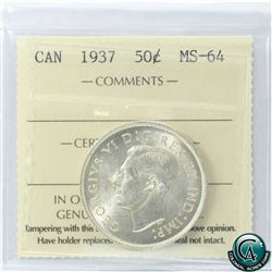 50-cent 1937 ICCS Certified MS-64