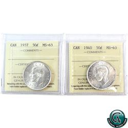 50-cent 1937 & 1940 ICCS Certified MS-63. Both coins contain a blast white finish with lustrous fiel