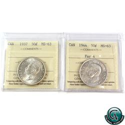 50-cent 1937 & 1944 Far 4 ICCS Certified MS-63. 2pcs