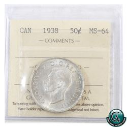 50-cent 1938 ICCS Certified MS-64