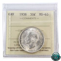 50-cent 1938 ICCS Certified MS-63.