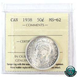 50-cent 1938 ICCS Certified MS-62. Bright white coin with soft mint bloom.