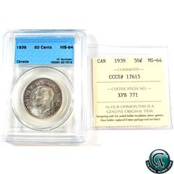 50-cent 1939 CCCS/ICCS Certified MS-64 (Cross Graded)