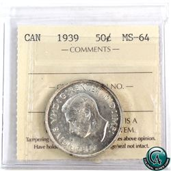 50-cent 1939 ICCS Certified MS-64