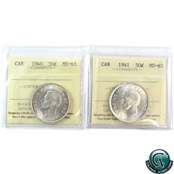 50-cent 1940 & 1941 ICCS Certified MS-63. 2pcs .