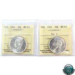 50-cent 1941 & 1944 Far 4 ICCS Certified MS-63. Both coins are blast white. 2pcs.