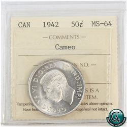 50-cent 1942 ICCS Certified MS-64 Cameo.