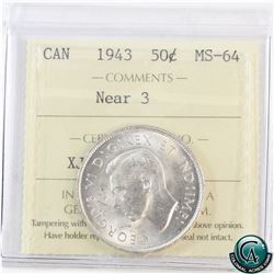 50-cent 1943 Near 3 ICCS Certified MS-64 (holder seam contains a small opening)