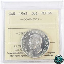 50-cent 1945 ICCS Certified MS-64.