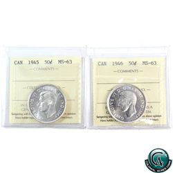 50-cent 1945 & 1946 ICCS Certified MS-63. 2pcs.
