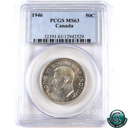 50-cent 1946 PCGS Certified MS-63