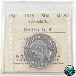 50-cent 1946 Design in 6 ICCS Certified AU-55