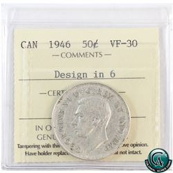 50-cent 1946 Design in 6 ICCS Certified VF-30.
