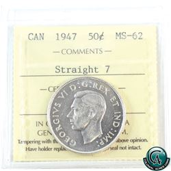 50-cent 1947 Straight 7 ICCS Certified MS-62. A bright coin with mirror finish.