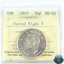 50-cent 1947 Curved Right 7 ICCS Certified MS-62.