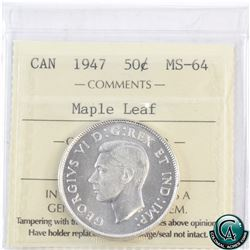 50-cent 1947 Maple Leaf ICCS Certified MS-64. Nice clean, bright coin.