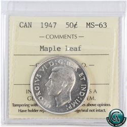 50-cent 1947 Maple Leaf ICCS Certified MS-63. Blast white coin with rolling luster.