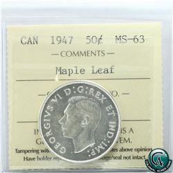 50-cent 1947 Maple Leaf ICCS Certified MS-63