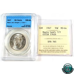 50-cent 1947 Maple Leaf Straight 7; 7 over 7 CCCS/ICCS Certified MS-64 (cross Graded)