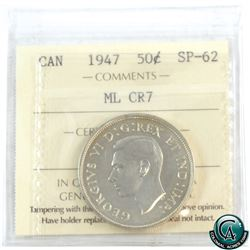 50-cent 1947 Maple Leaf Curved 7 ICCS Certified SP-62. A flashy coin with hints of golden toning.