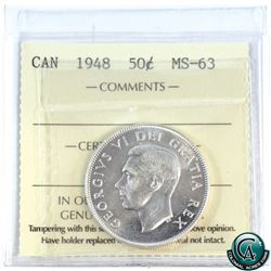 50-cent 1948 ICCS Certified MS-63. A nice mint state example with bright full mint luster.