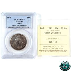 50-cent 1948 Convex PCGS/ICCS Certified SP-64. *KEY DATE* An attractive coin with subtle violet toni