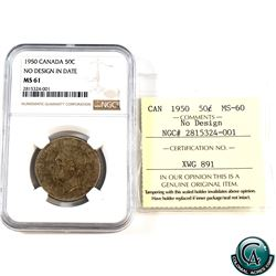 50-cent 1950 No Design NGC Certified MS-61 & ICCS Certified MS-60 (Cross Graded)