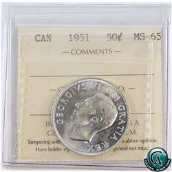 50-cent 1951 ICCS Certified MS-65. An attractive coin with original bright mint luster.