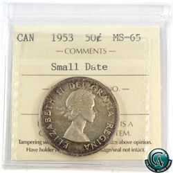 50-cent 1953 Small Date ICCS Certified MS-65.