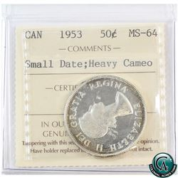 50-cent 1953 Small Date ICCS Certified MS-64 Heavy Cameo (Inner coin holder has a small tear).