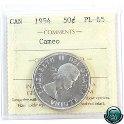 50-cent 1954 ICCS Certified PL-65 Cameo.