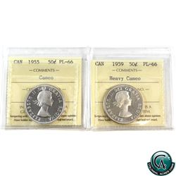 50-cent 1955 Cameo & 1959 Heavy Cameo ICCS Certified PL-66. 2pcs