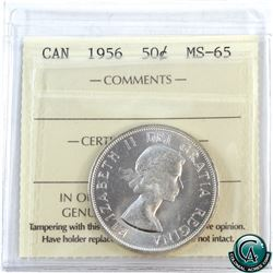 50-cent 1956 ICCS Certified MS-65. A flashy coin with great eye appeal.