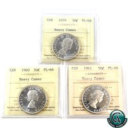 50-cent 1959, 1960 & 1961 ICCS Certified PL-66 Heavy Cameo. 3pcs