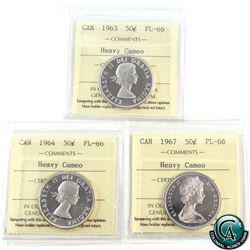 50-cent 1963, 1964, 1967 ICCS Certified PL-66 Heavy Cameo. 3pcs.