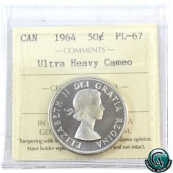 50-cent 1964 ICCS Certified PL-67 Ultra Heavy Cameo. Tied for finest known!