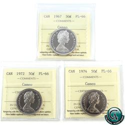 50-cent 1967, 1972, 1974 ICCS Certified PL-66 Cameo. 3pcs.