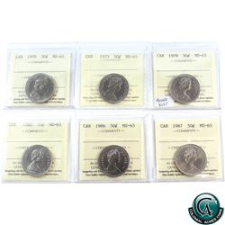 50-cent 1970, 1973, 1979 Round Bust, 1980, 1986, 1987 ICCS Certified MS-65. 6pcs.