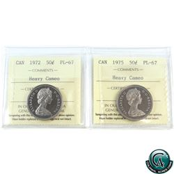 50-cent 1972 & 1975 ICCS Certified PL-67 Heavy Cameo. 2pcs.